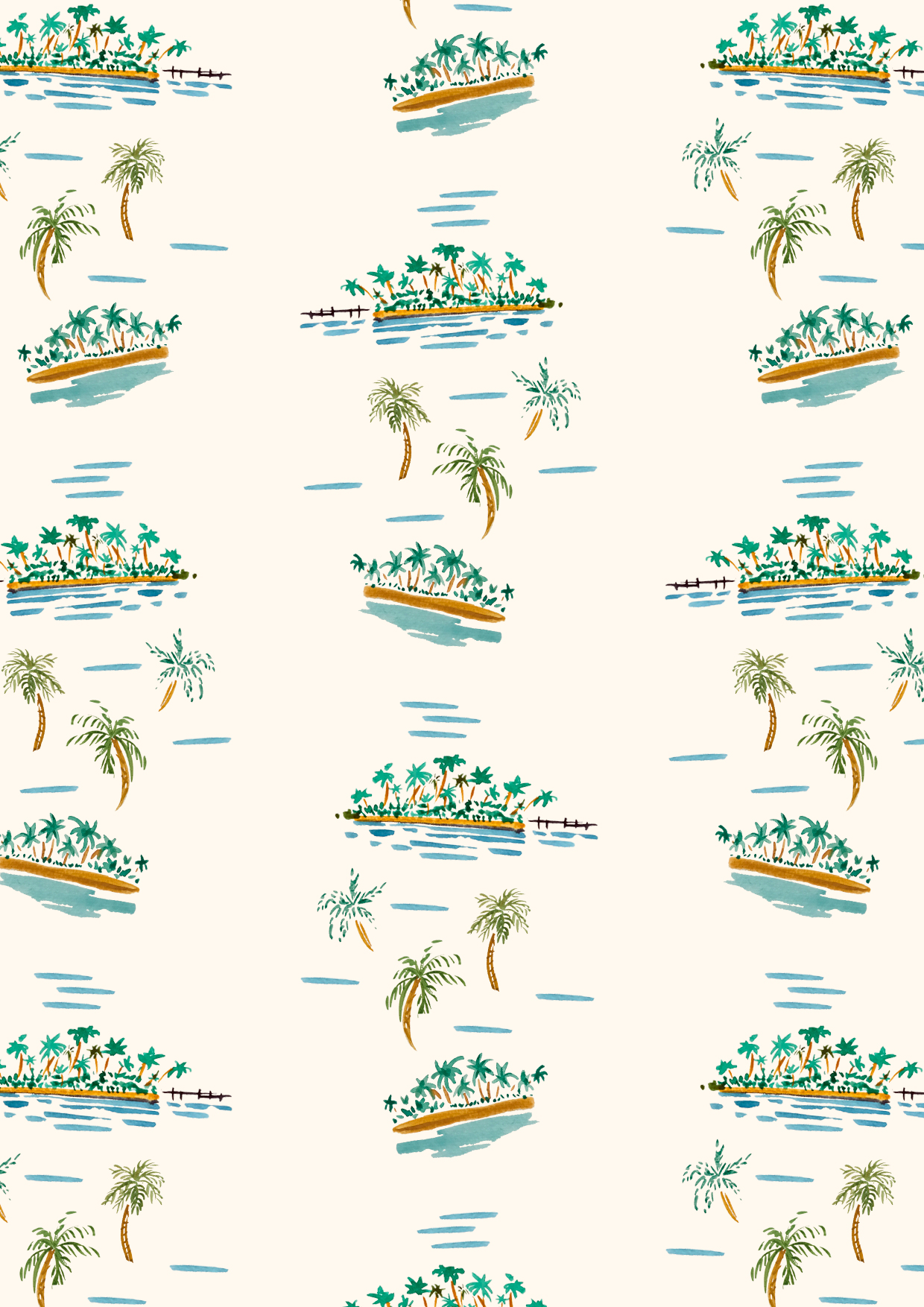 Diane Cunnington - fashion illustration and textile design. THE NEW SOCIETY Watercolor tahitian landscape for baby's and kidswear